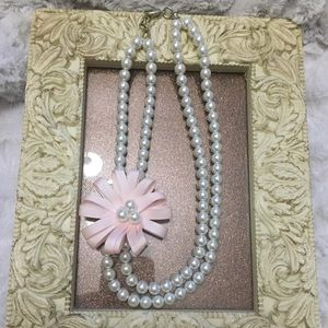 Gymboree Pearl necklace and ribbon flower
